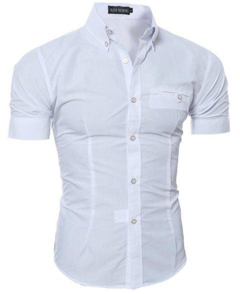 New Fashion Men's Casual Slim Solid Shirt - WHITE 3XL