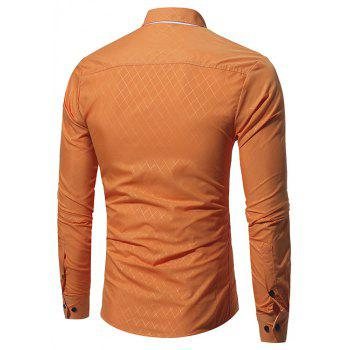 New Umber Lingge Men's Casual Slim Shirt - ORANGE L