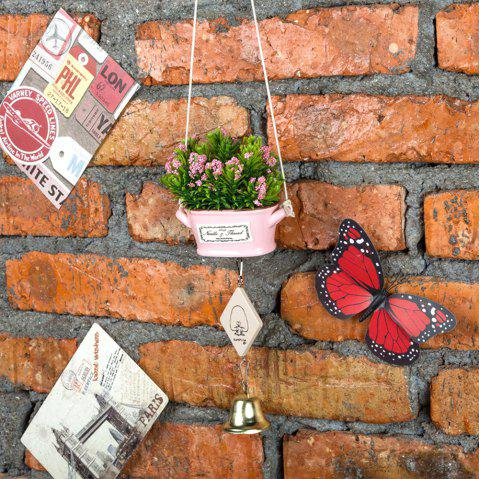 Nordic Garden Small Ceramic Artificial Millet Spike Potted Wind Chime 1pc - PINK