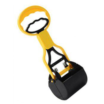 Long Handle Jaw Poop Scoop Clean Puppy Cat Waste Picker Cleaning Tools - YELLOW