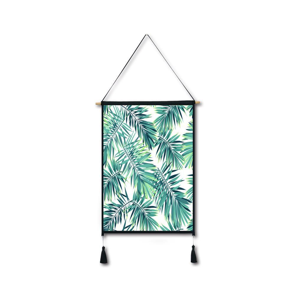 Palm Leaf on White Tassel Hanging Painting Wall Decor Print leaf print tassel table runner