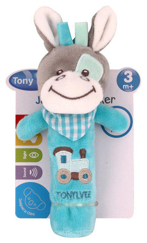 Baby  Rattle Toy  Cute Cartoon Animal Pattern Soft Educational Comforting Toy - DEEP SKY BLUE 20CM / 7.9 INCH