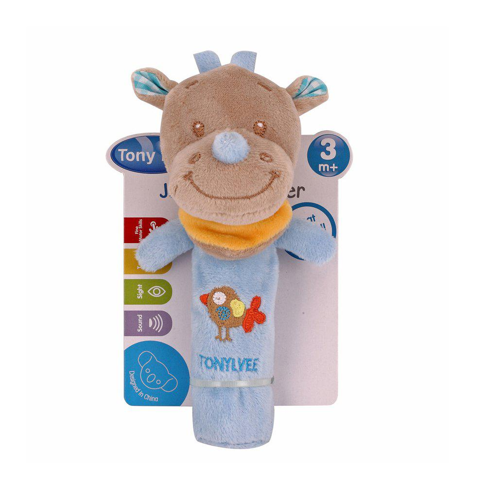 Baby  Rattle Toy  Cute Cartoon Animal Pattern Soft Educational Comforting Toy - SKY BLUE 20CM / 7.9 INCH