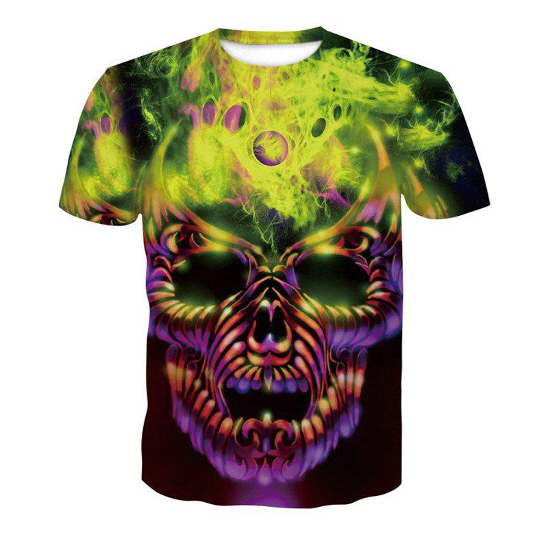 3D Skull Print Men's Casual Short Sleeve Graphic T-shirt mens casual 3d personality skull printing short sleeve t shirt cotton sport black tees
