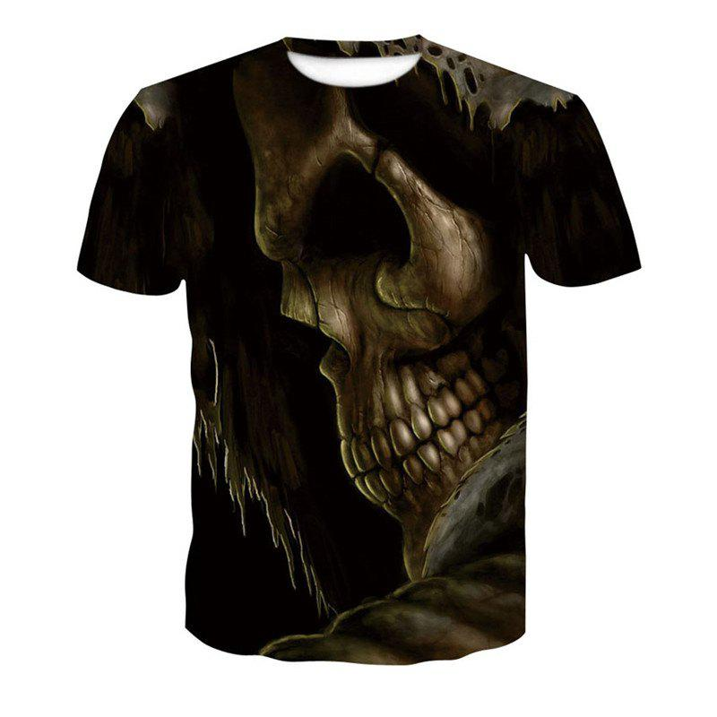 3D Bursting Skull Print Men's Casual Short Sleeve Graphic T-shirt mens casual 3d personality skull printing short sleeve t shirt cotton sport black tees