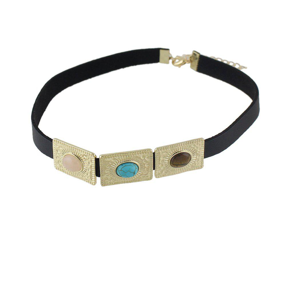 Black PU Leather Turquoise Choker Necklaces