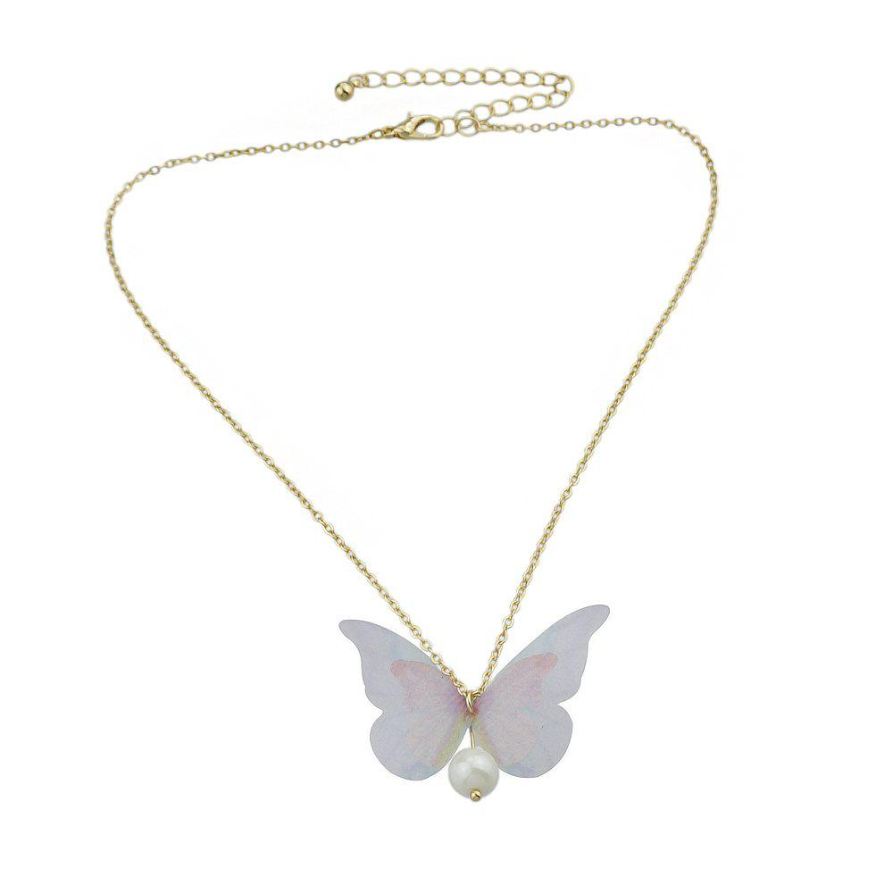 Pink Blue Double Butterfly Clavicle Necklace pearl butterfly clavicle chain