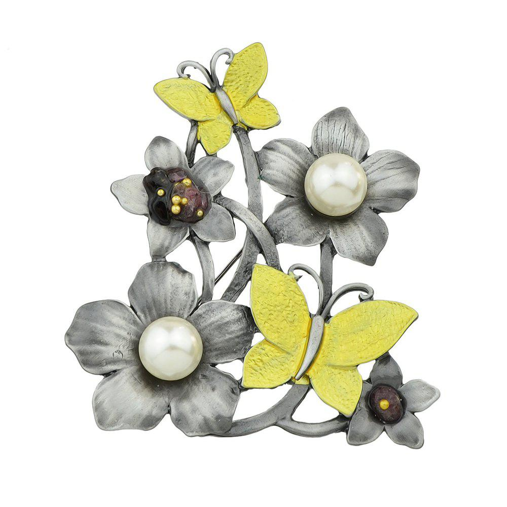 Gunblack Color Metal with Yellow Enamel Flower Butterfly Brooch g yellow flower grass brooch