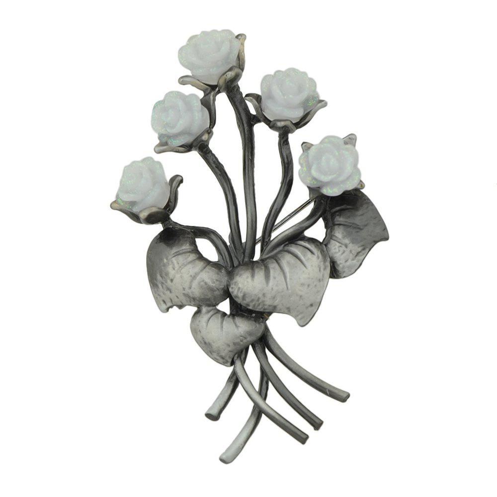 Gunblack Metal White Pink Resin Flower Brooch - COOL WHITE