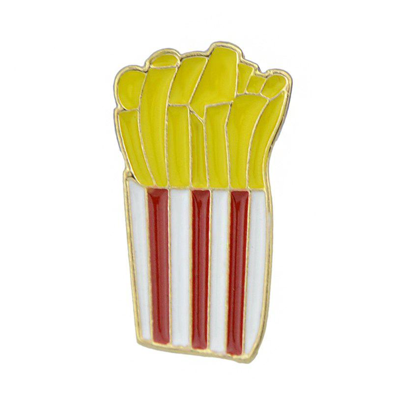 Gold-color with Colroful Enamel French Fries Brooch - YELLOW