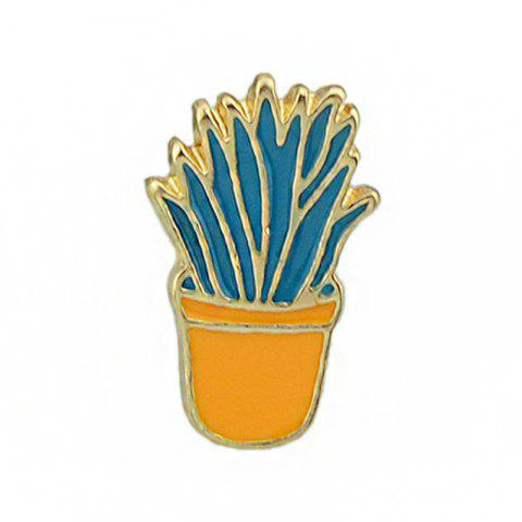 Gold-color Colorful Enamel Potted Plants Brooch - CANTALOUPE