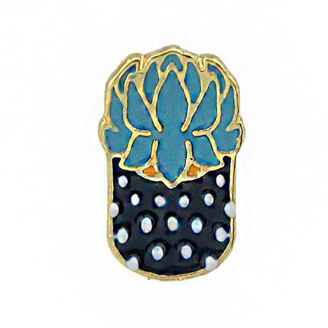 Gold-color Colorful Enamel Potted Plants Brooch - BLUE KOI