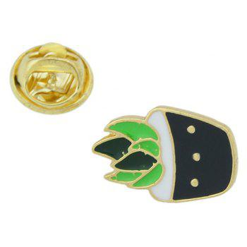 Gold-color Colorful Enamel Potted Plants Brooch - BLACK