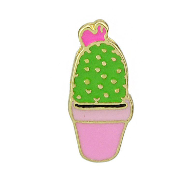 Gold-color Colorful Enamel Potted Plants Brooch - BLOSSOM PINK