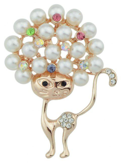 Broche de luxe de chat mignon de mode - Blanc Antique