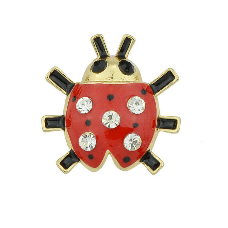 Gold-color with Red Black Enamel Rhinestone Ladybug Brooch - FERRARI RED