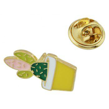 Gold-color with Colorful Enamel Cactus Potted Plant Brooches - multicolor