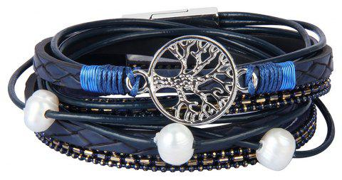 Fashion Accessories Multi - Layer Cowhide Life Tree Magnet Clasp Bracelet - BLUE