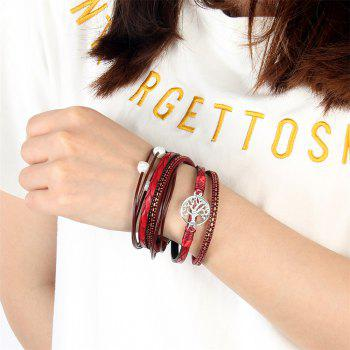 Fashion Accessories Multi - Layer Cowhide Life Tree Magnet Clasp Bracelet - RED