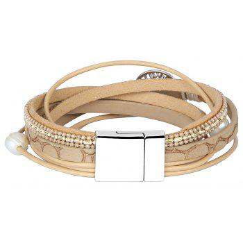 Fashion Accessories Multi - Layer Cowhide Life Tree Magnet Clasp Bracelet - GOLD