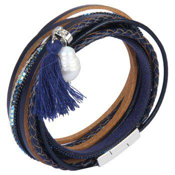 Fashion Accessories Multi - Layered Leather Tassel Bracelet - BLUE