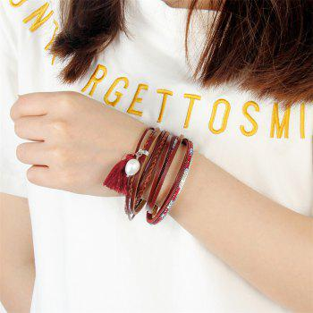 Fashion Accessories Multi - Layered Leather Tassel Bracelet - RED
