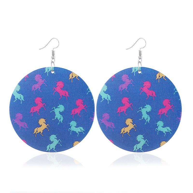 Hipster Fashion Exaggerated Geometric Round Wooden Print Earrings faux opal geometric earrings
