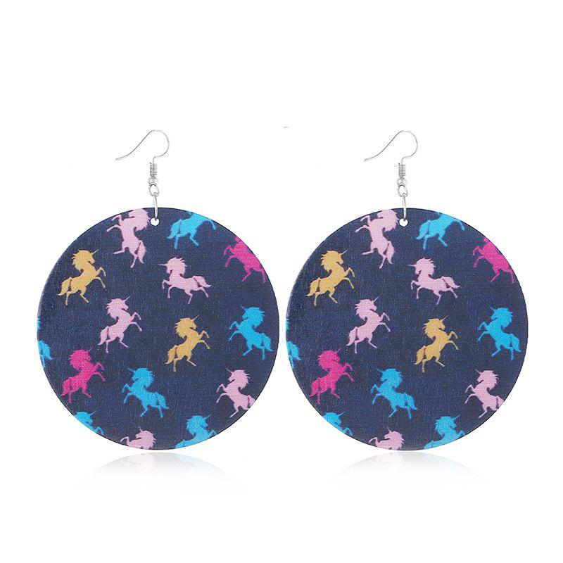 2018 New Korean Style Street Shoot Wooden Printed Round Earrings 2018 new korean style street shoot wooden printed round earrings