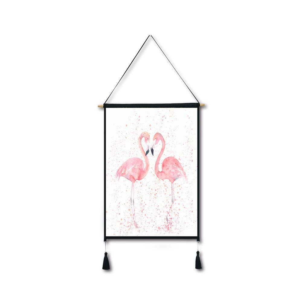 Ink Flamingos Tassel Hanging Painting Wall Decor Print black spots flamingo tassel hanging painting wall decor print