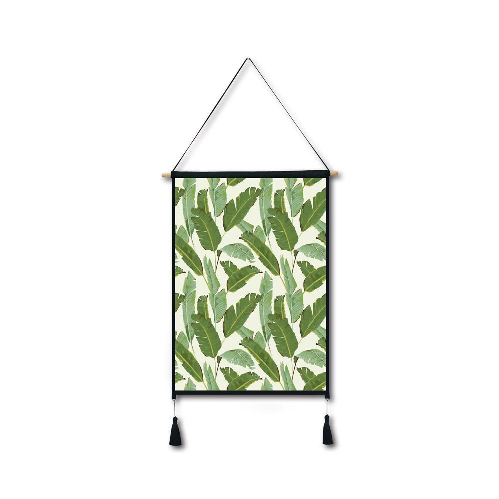 Banana Leaf Tassel Hanging Painting Wall Decor Print leaf print tassel table runner