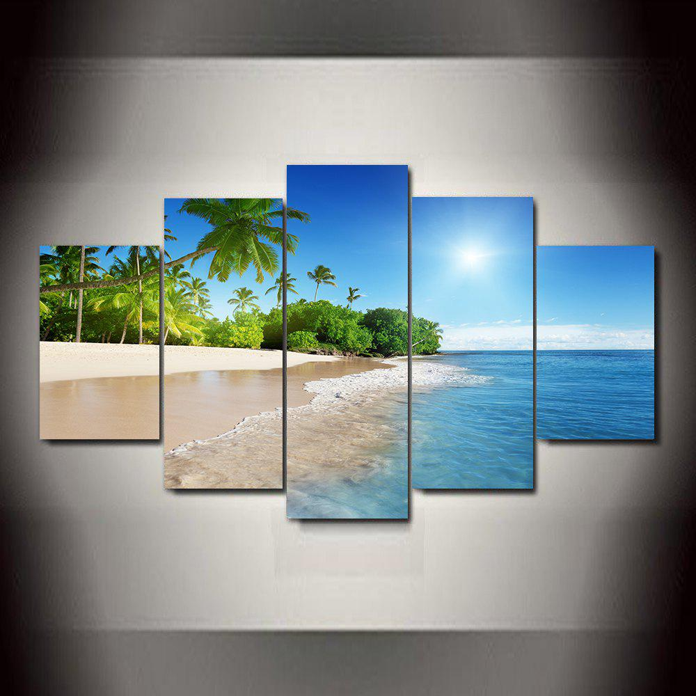 Blue Sky and Water Frameless Printed Canvas Art Print 5PCS blue sky and water frameless printed canvas art print 4pcs