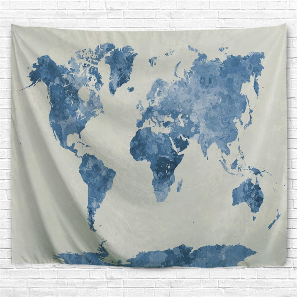 Ink World Map 3D Printing Home Wall Hanging Tapestry for Decoration - multicolor A W230CMXL180CM