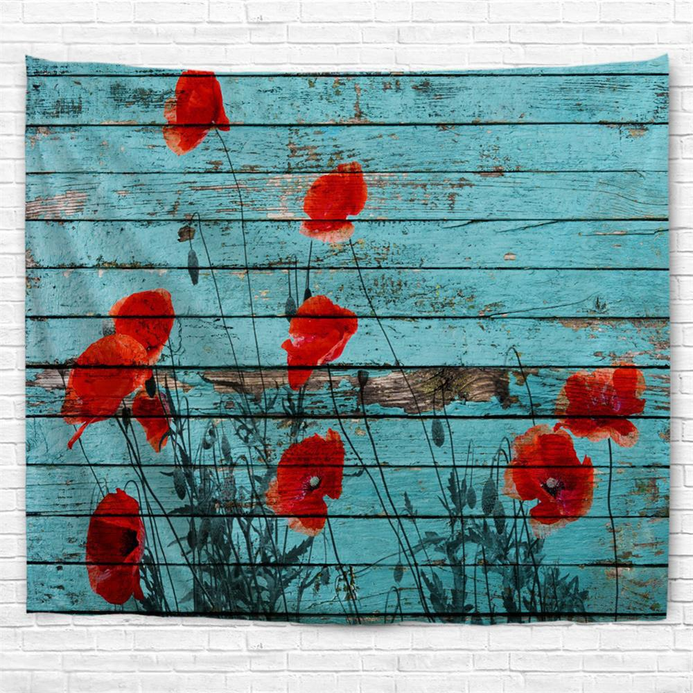 Wooden Board Poppy 3D Printing Home Wall Hanging Tapestry for Decoration
