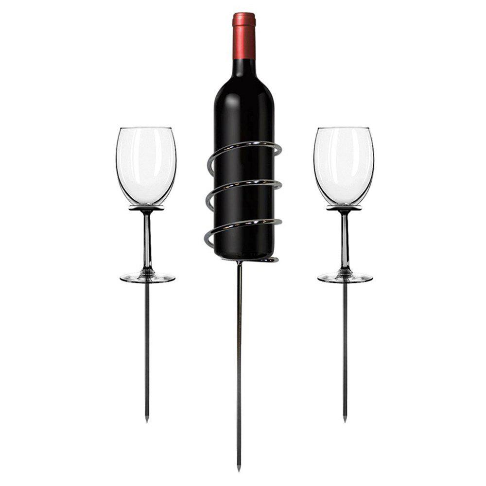 Outdoor Wine Bottle and Glass Stainless Steel Holder Sticks for Picnic 3PCS - SILVER