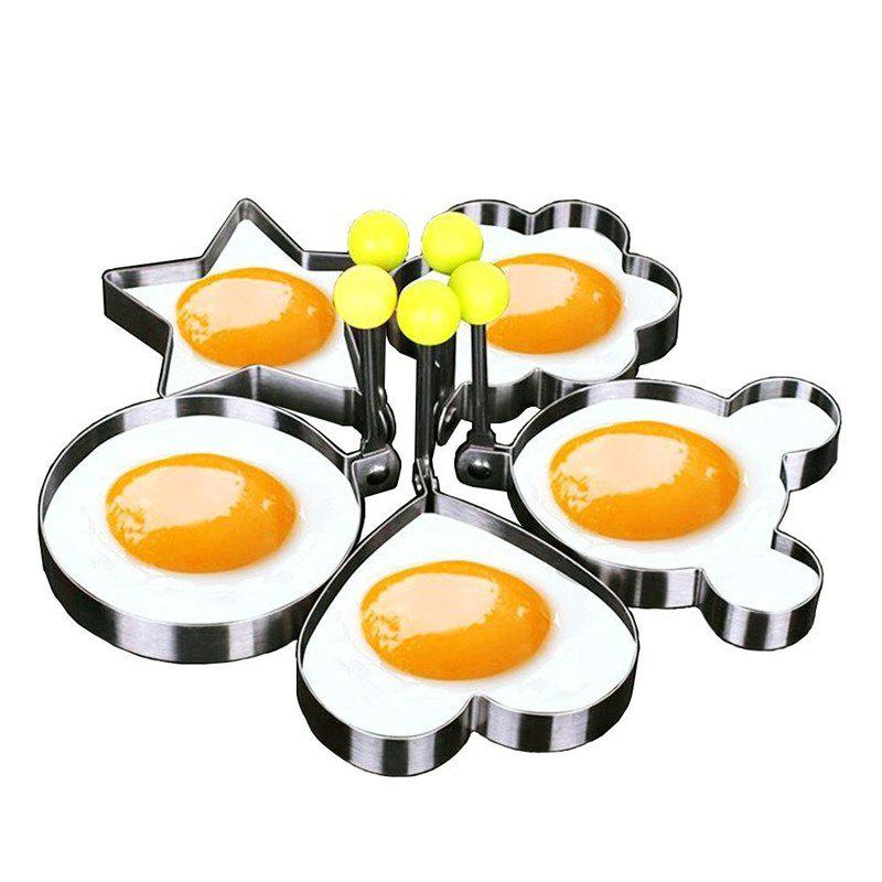 Stainless Steel Cute Shaped Fried Egg Mold 5PCS egg shaped stainless steel mechanical twist timer 60 minutes
