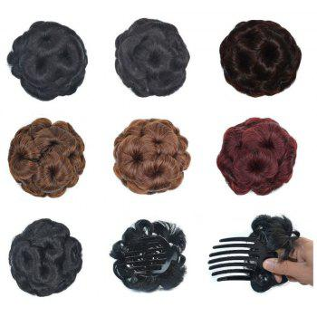 TODO 12cm Flowers Bud Insert Comb Clip In Bun Updo Cover Hair Extensions - NATURAL BLACK