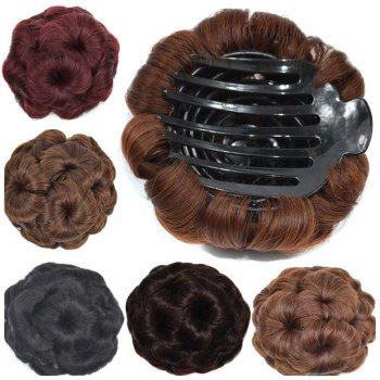 TODO 12cm Flowers Bud Insert Comb Clip In Bun Updo Cover Hair Extensions - BLACK