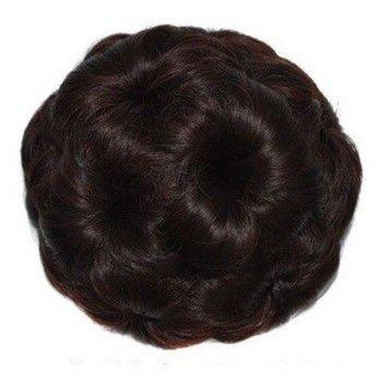 TODO 12cm Flowers Bud Insert Comb Clip In Bun Updo Cover Hair Extensions - PUCE