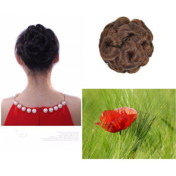 TODO 12cm Flowers Bud Insert Comb Clip In Bun Updo Cover Hair Extensions - BROWN