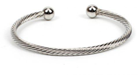 Yellow Copper Embossed Open Personality Bangle - SILVER 1PC