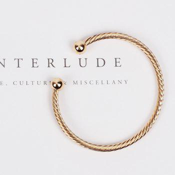Yellow Copper Embossed Open Personality Bangle - GOLD 1PC