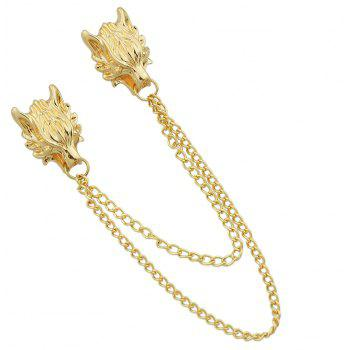 Gold Silver Color with Chain Dragon Head Brooch - GOLD