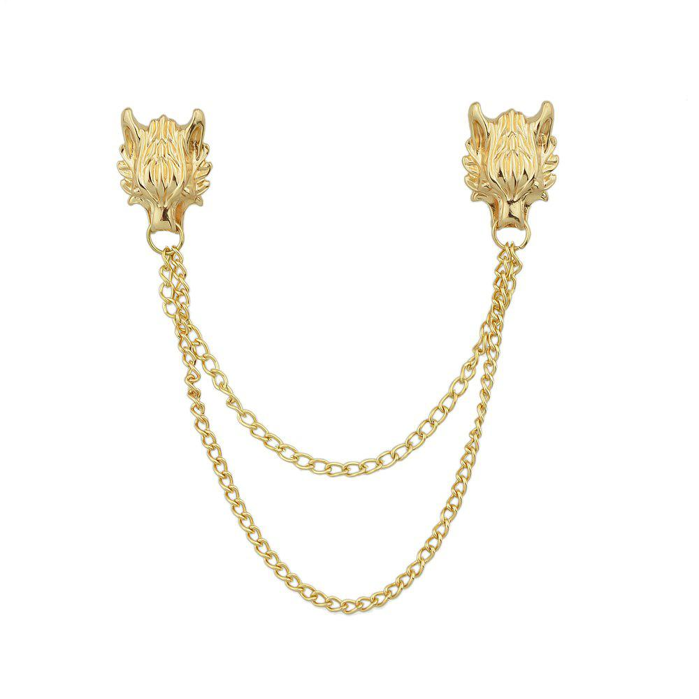 Gold Silver Color with Chain Dragon Head Brooch diamond grinding head set silver 50 pcs