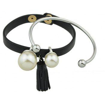 PU Leather Tassel Metal Bracelets - SILVER