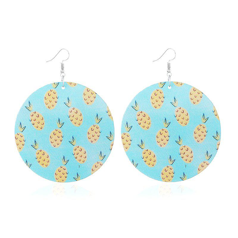 Korean Fashion Exaggerated Retro Simple Print Geometric Round Wooden Earrings 2018 new korean style street shoot wooden printed round earrings