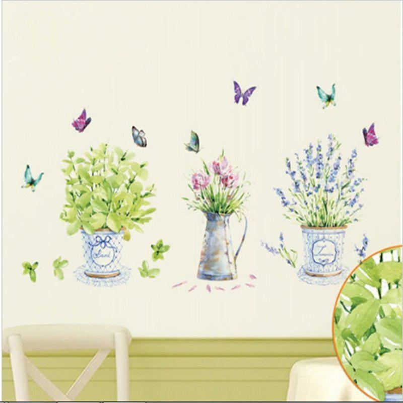 Home Decor Flowers Potted Butterfly Kitchen Window Glass Bathroom Wall Stickers hanging flowers removable home window decor wall stickers