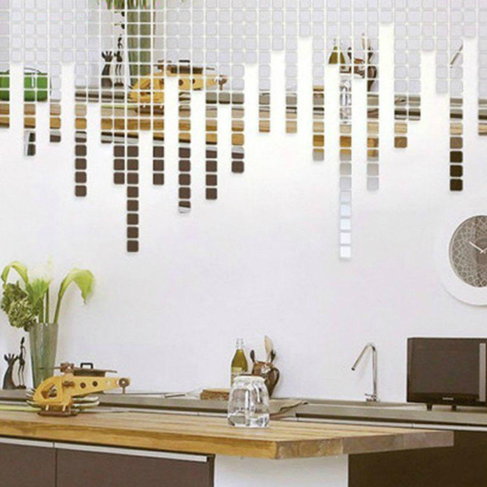 100PCS  Square Crystal Mirror Surface Decoration Wall Sticker - SILVER