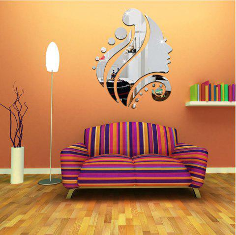 3D  Crystal Mirror Surface Decoration Wall Sticker - SILVER