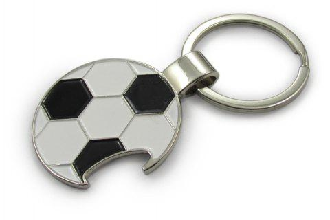 Soccer Football  Keychain Metal Bottle Opener Keyring Pendant - WHITE NO.03