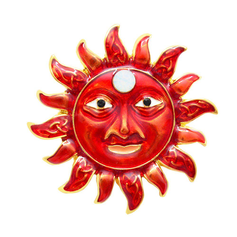 Enamel Sun-shaped Flower Brooches Corsage Clothes Accessories For Women Pin - FERRARI RED